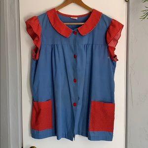 Vintage Ruffle Sleeve Smock Shirt